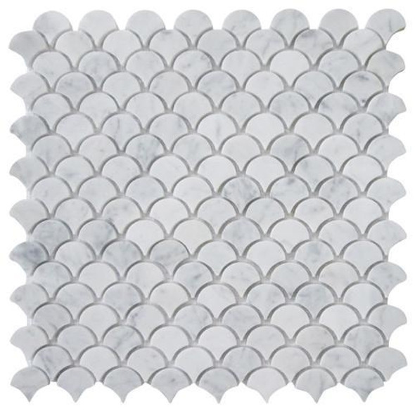 Carrara White Marble - Fan Raindrop Fish Scale Mosaic Tile - 1 X 1 - HONED