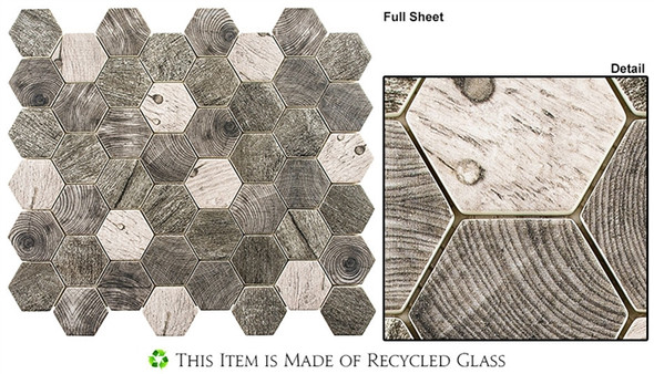 "Woodland - WDL-4003 Asbury Heath - 2"" Hexagon Wood Look Recycled Glass Tile Mosaic"