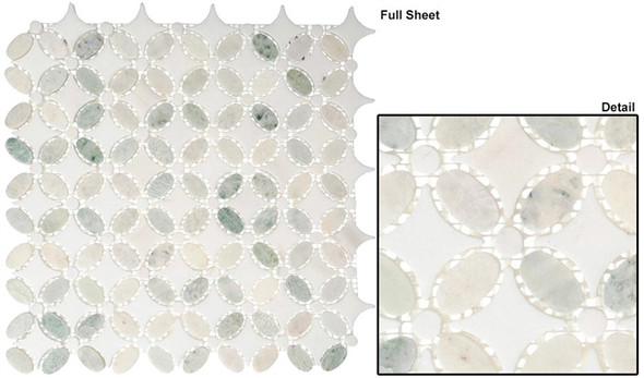 Flower - FS-74 Ming Green Thassos White - Water Jet Floral Shape Marble Stone Mosaic - Sample