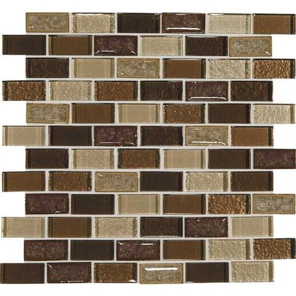 Daltile Crystal Shores Crackle Glass - CS97 Copper Coast Blend - 1 X 2 Brick Joint Subway Dal Tile Glass Mosaic - Sample