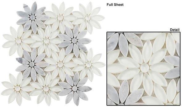 Bouquette - BQT-675 Daisy Field - Flower Pattern Mix of Glass, Stone, & Metal Mosaic Tile