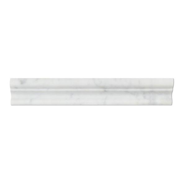 Italian White Carrara Marble - 2 X 12 Crown Mercer Chair Rail Ogee Molding - Honed Finish - Sample