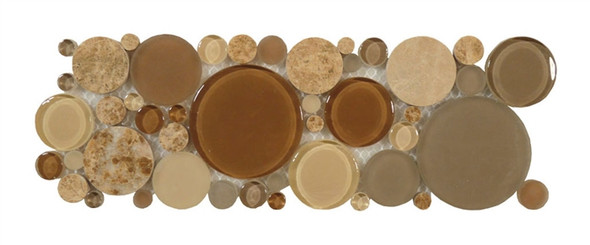 Supplier: Tile Store Online, Name: B800, Color: Toffee,Type: Round Glass & Stone Mosaic Listello Border, Size: 4X12