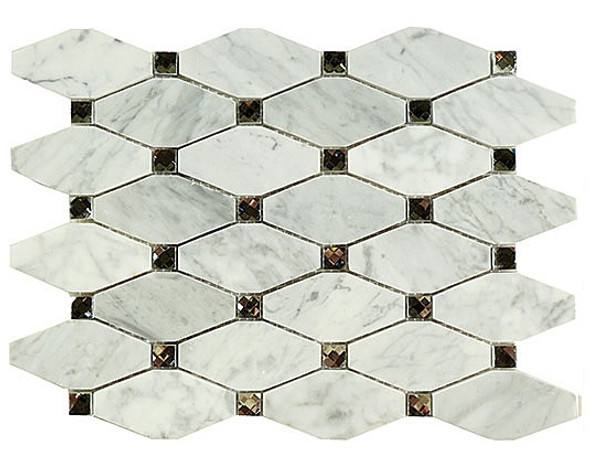 Imperial Mosaic Tile - IS-1 Imperial Cloud - Rhomboid Natural Stone Marble & Jewel Mirror Glass - Sample