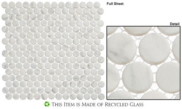 Polka Dots - PLK61 Jasmine Delight - Penny Round Recycled Glass Mosaic - Sample