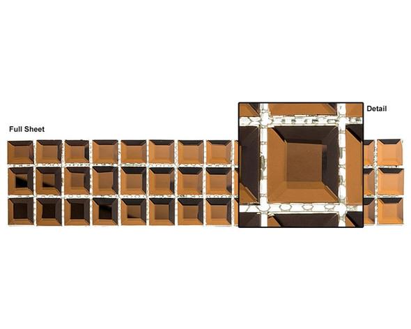 Kasbah - KS546 Honey Baklava - 2.5 X 12 Beveled Mirror Glass Tile Mosaic Border Liner Strip