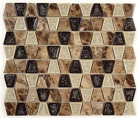 Tranquil Trapezoid - TS-936 Rocky Road - Crackle Jewel Glass & Natural Stone Decorative Mosaic Tile - Sample