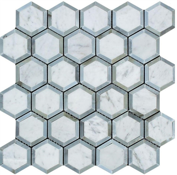 White Carrara Marble - 2 X 2 Vortex Hexagon With Gray Mosaic - Honed - Premium Italian Carrera Natural Stone