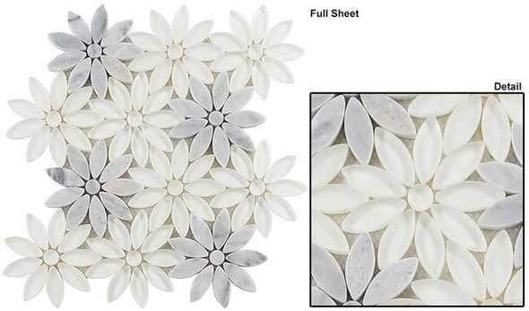 Bouquette - BQT-675 Daisy Field - Flower Pattern Mix of Glass, Stone, & Metal Mosaic Tile - Sample