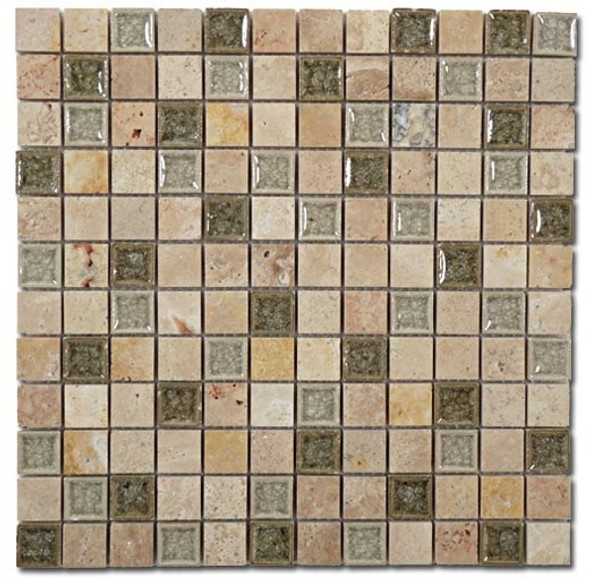 Supplier: Tile Store Online, Name: Tranquil TS-903, Color: Olive Grove, Type: Crackle Jewel Glass & Stone Mosaic Tile, Size: 1X1