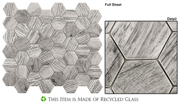 "Woodland - WDL-4004 Russian Pine - 2"" Hexagon Wood Look Recycled Glass Tile Mosaic"