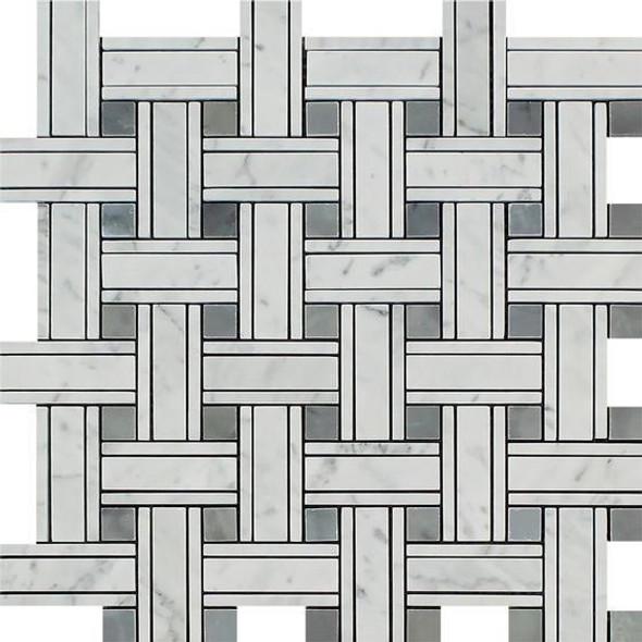 Carrara White Marble - Triple Basket Weave Pattern Mosaic Tile - Blue Gray Dot - POLISHED - Sample