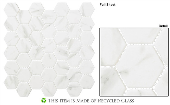 "Antiquities - ANQ 52 Egyptian Ivory - 2"" Hexagon Marble Look Recycled Glass Tile Mosaic"