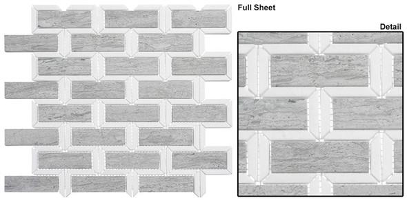 Colosseum - COM-6502 Noble Knight - Subway Brick Water Jet Pattern Natural Stone Mosaic Tile