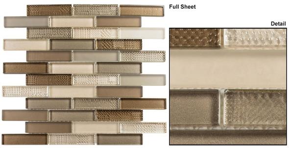 Grand Turret - GTS-144 Ivy Drawbridge - 1 X 4 Brick Linear Textured Mix Glass Tile Mosaic - Sample