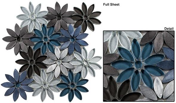 Bouquette - BQT-676 Hydrangea Thicket - Flower Pattern Mix of Glass, Stone, & Metal Mosaic Tile