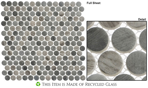 Polka Dots - PLK62 Umbel Grey - Penny Round Recycled Glass Mosaic - Sample