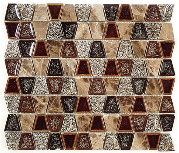 Tranquil Trapezoid - TS-937 Native Tortoise - Crackle Jewel Glass & Natural Stone Decorative Mosaic Tile - Sample
