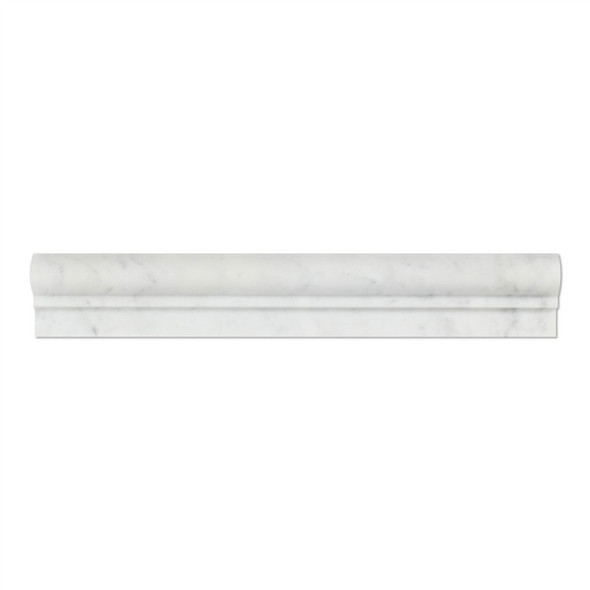 Italian White Carrara Marble - 2 X 12 Chair Rail Ogee Molding Single Step - Honed Finish