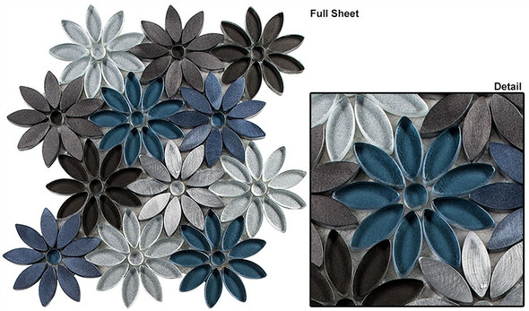 Bouquette - BQT-676 Hydrangea Thicket - Flower Pattern Mix of Glass, Stone, & Metal Mosaic Tile - Sample