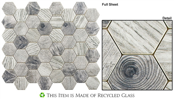 "Woodland - WDL-4005 Evening Birch - 2"" Hexagon Wood Look Recycled Glass Tile Mosaic"