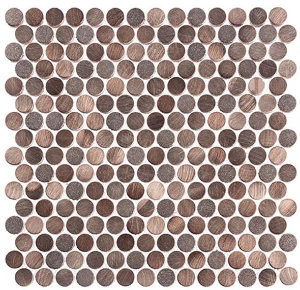 Urban Jungle - UJ665 Brown Cayman - Penny Round Aluminum Metal Cap Mosaic - Sample