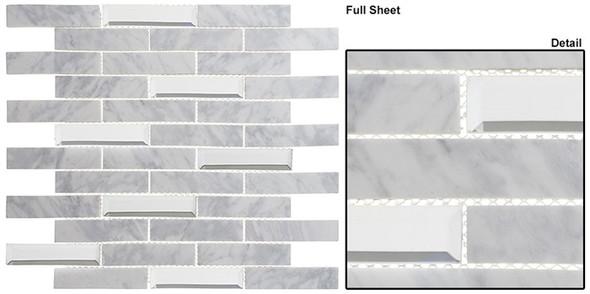 Beveled Castle - BCA-651 Whitecliff Hall - Random Brick Linear Beveled Mirror Glass & Natural Stone Mosaic Tile - Sample