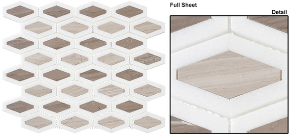 Garden Party - GDN-131 Espresso Tan - Long Diamond Shape Pattern Marble Stone Mosaic - Sample