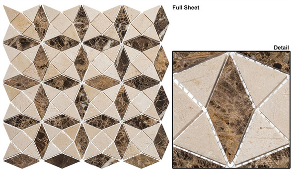 Divine Windows - DVW-343 Roman Temple - Geometric Pattern Natural Stone Mosaic Tile