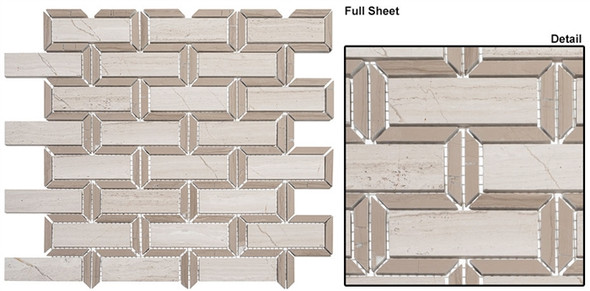 Colosseum - COM-6503 Caesar Beige - Subway Brick Water Jet Pattern Natural Stone Mosaic Tile