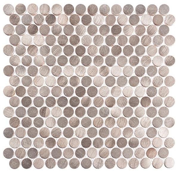 Urban Jungle - UJ666 Truffle Corner - Penny Round Aluminum Metal Cap Mosaic