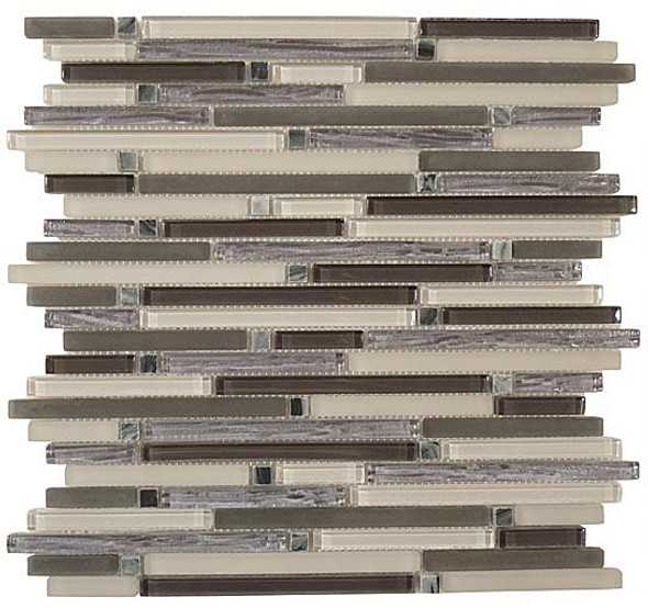 Supplier: Tile Store Online, Name: Brush Stroke BSS-401, Color: Charcoal Valley,Type: 3/8 X Random Brick Linear Glass & Stone Mosaic Tile, Size: 12X12