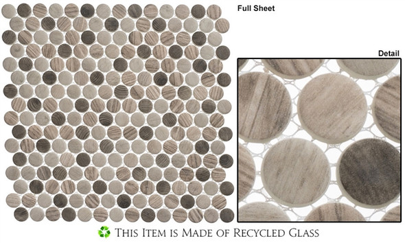 Polka Dots - PLK63 Southern Trail - Penny Round Recycled Glass Mosaic - Sample