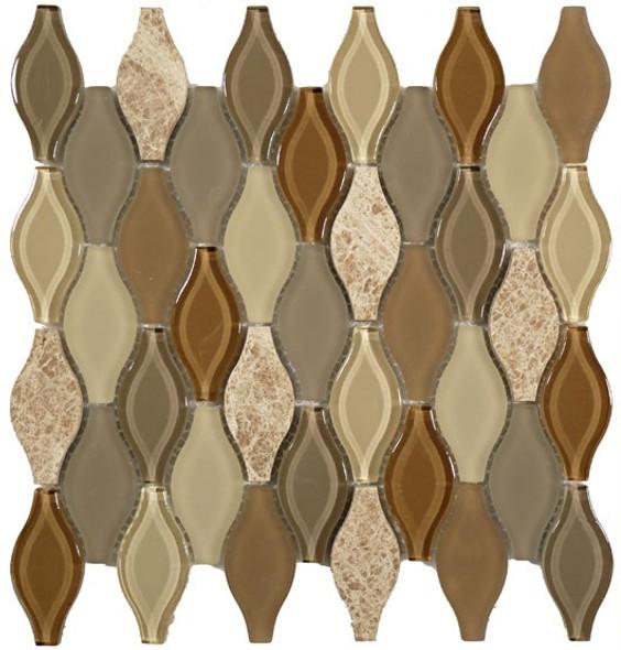 Seagull Glass - SGS-75 Weathered Down - Rhomboid Diamond Glass & Stone Mosaic Tile - Gloss - Sample