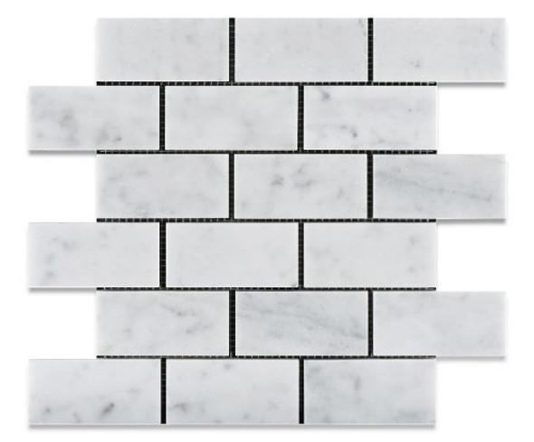 White Carrara Marble - 2 X 4 Subway Brick Mosaic - Honed - Premium Italian Carrera Natural Stone