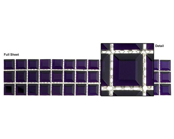 Kasbah - KS548 Amethyst Crown - 2.5 X 12 Beveled Mirror Glass Tile Mosaic Border Liner Strip