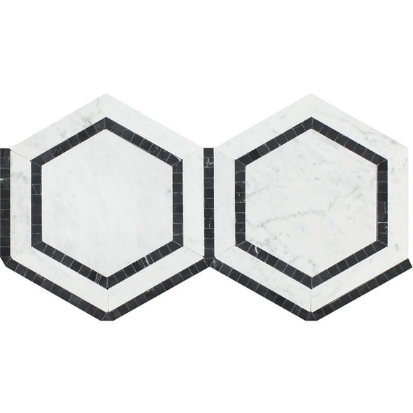 Carrara White Marble - Hexagon Mosaic Tile - Combination with Black - POLISHED