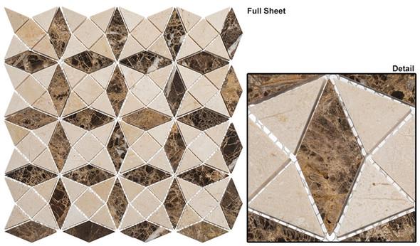 Divine Windows - DVW-343 Roman Temple - Geometric Pattern Natural Stone Mosaic Tile - Sample