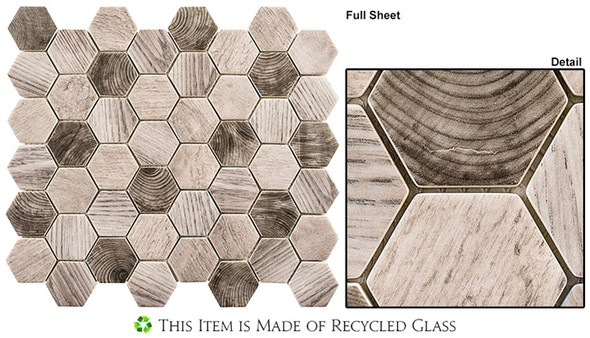"Woodland - WDL-4006 Tawny Oak - 2"" Hexagon Wood Look Recycled Glass Tile Mosaic"