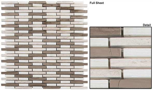 Country Breeze - CTRZ-332 Spring Shade - Linear Stick Strip Pattern Natural Stone Mosaic Tile - Sample