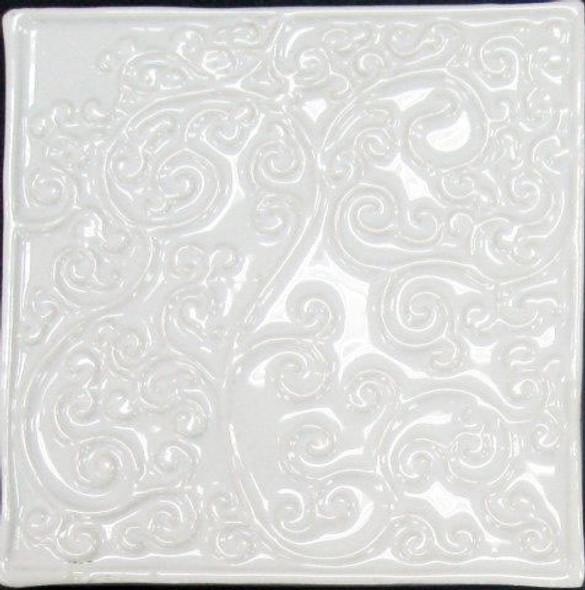Bristol Studios - Nouveau - G2449 Nantes Blanc White Relief Deco - 6X6 Hand Crafted Decorative Tile - $3.95