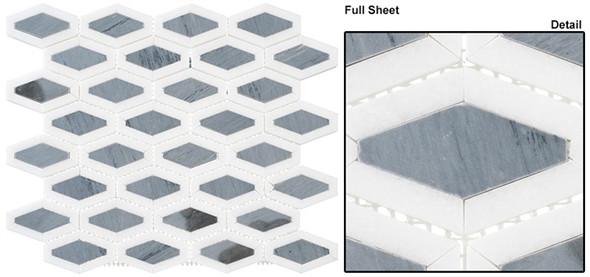 Garden Party - GDN-132 Lunar Ice - Long Diamond Shape Pattern Marble Stone Mosaic - Sample