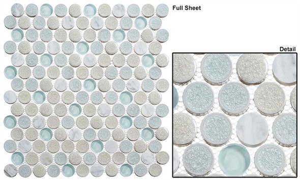 "Ceremonial - CRM-475 Dawn Celebration - 1"" Round Crackle Jewel Glass Glossy & Frosted Foil Glass Mosaic Tile"