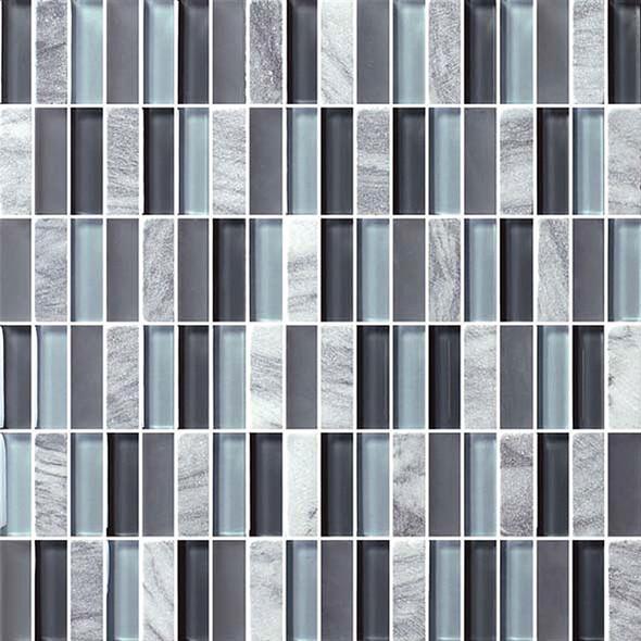 Bristol Studios - Crystal Stone - G2284 Blue Bricks - 5/8 X 1-7/8 Brick Subway Glass & Stone Tile Mosaic - Sample