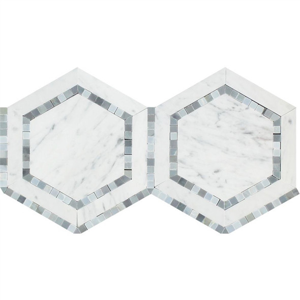 Carrara White Marble - Hexagon Mosaic Tile - Combination with Blue Gray Bardiglio - HONED