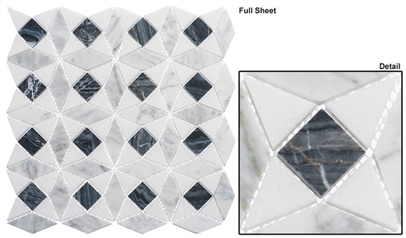 Divine Windows - DVW-344 Russian Renaissance - Geometric Pattern Natural Stone Mosaic Tile - Sample