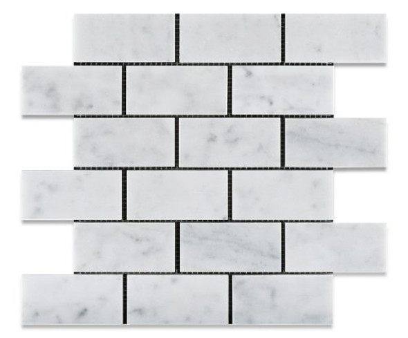 White Carrara Marble - 2 X 4 Subway Brick Mosaic - Polished - Premium Italian Carrera Natural Stone