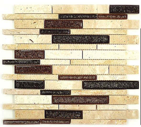 Tranquil Linear - TS-939 Arizona Scape - Random Brick Crackle Jewel Glass & Natural Stone Decorative Mosaic Tile - Sample