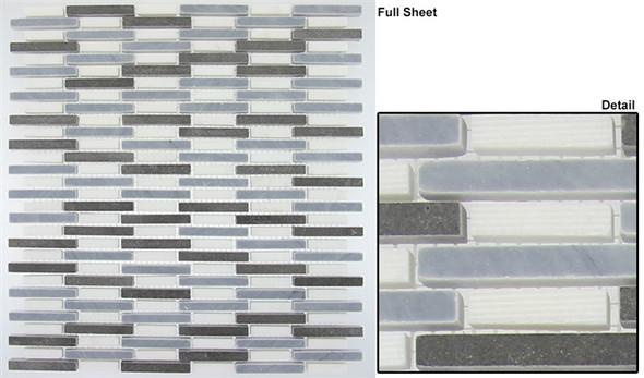 Country Breeze - CTRZ-333 Viking Blue - Linear Stick Strip Pattern Natural Stone Mosaic Tile - Sample