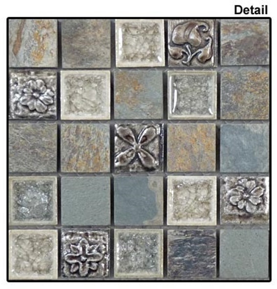 Tranquil - TS-906 Methodical Grey - 1X1 Square Crackle Jewel Glass & Natural Stone Decorative Mosaic Tile - Sample